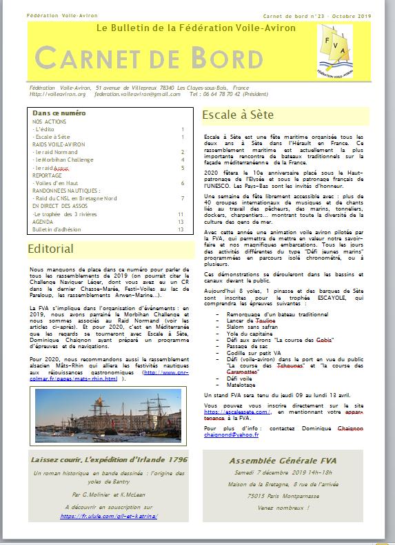 couverture du n°23 de carnet de Bord, le bulletin de la Fédération Voile-Aviron