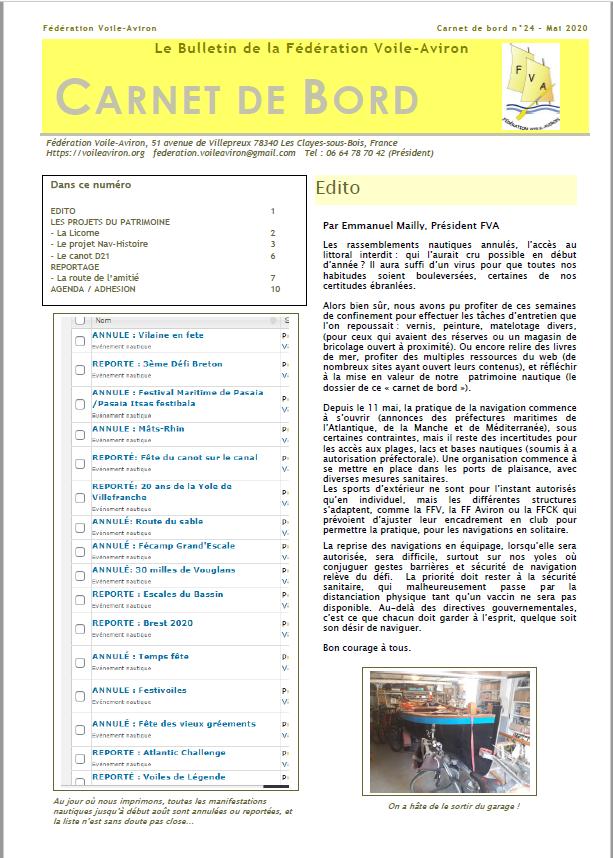 Parution du «Carnet de Bord» n°24, le bulletin du déconfinement