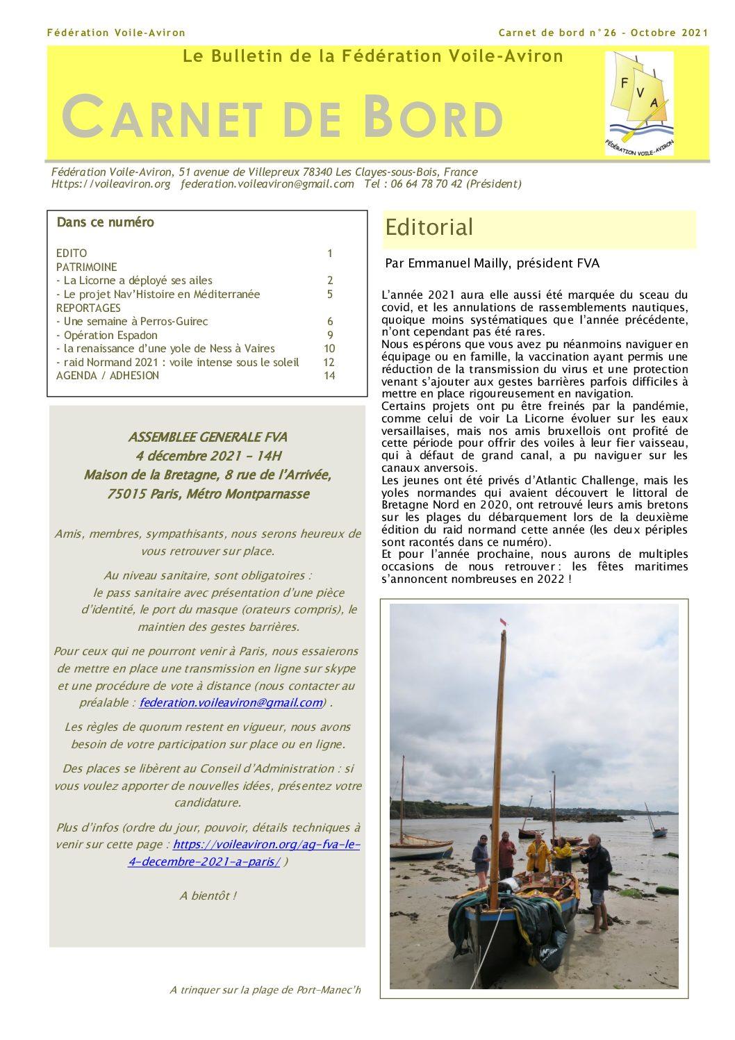 Read more about the article Le «carnet de bord» n°26, bulletin de la FVA, vient de paraître